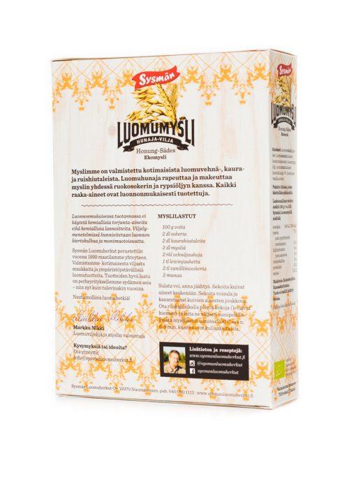 Sysmän_luomuherkut-Hunaja-Vilja Luomumysli 400 g (takakansi)